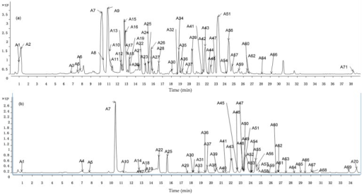 Rapid resolution liquid chromatography with quadrupole-time-of-flight mass spectrometry (RRLC-Q-TOF-MS) chromatograms of prepared Guizhi decoction (GZD). (a) Total ion chromatograms in negative mode; (b) Total ion chromatograms in positive mode.