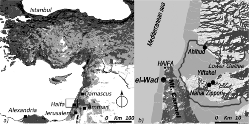 The context of study.(a) Map of the Near East; (b) Location of the Natufian site of el-Wad and the Pre-Pottery Neolithic B sites of Ahihud, Yiftahel, and Nahal Zippori where the earliest domesticated faba beans were found910. In grey the limit of the Lower Galilee. The images were created with QGIS Development Team, <2015>. QGIS Geographic Information System. Open Source Geospatial Foundation Project. http://www.qgis.org/.