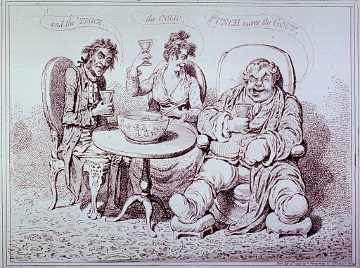 <p>Two men and a woman are sitting around a small table on which is a large punch bowl; each is holding a glass; on the right is seated a fat man with both feet and his left hand bandaged; center, a young woman holding her stomach; left, a man near death.</p>