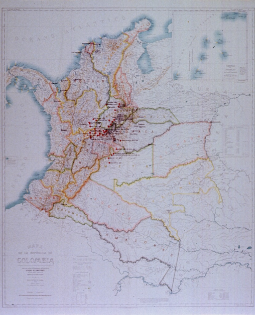 <p>Map of Colombia, published in 1939, with spots showing the existence of yellow fever added [194-] in manuscript.</p>