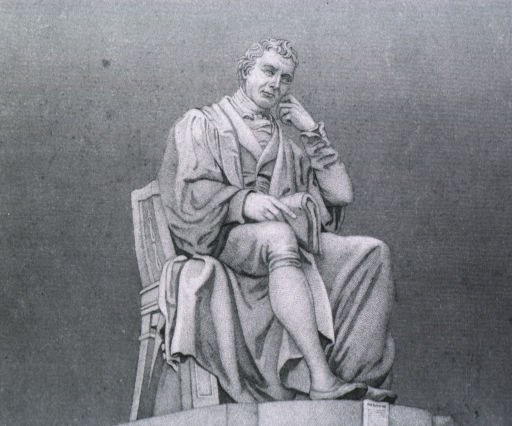<p>Statue:  Full length, seated, holding scroll.</p>