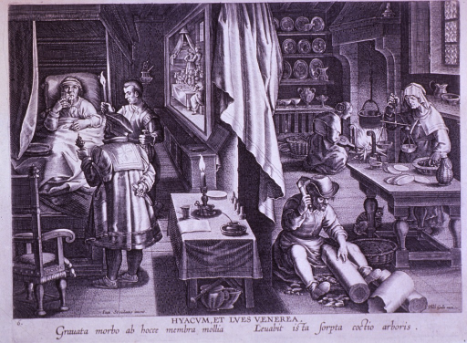 <p>Interior view of two rooms: to the right is a kitchen scene with various domestic chores taking place; to the left is a bedroom scene with a sick man in bed being attended to by two men, one of which is holding a pine cone.</p>