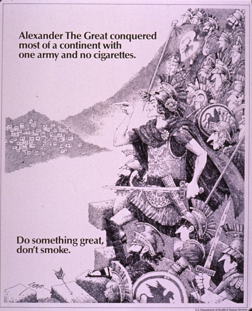 <p>Black and white poster.  Title at top of poster.  Visual image is a cartoon-style illustration of a group of soldiers, dressed in ancient battle gear, poised to strike a town that is visible in the distance.  One man smiles as he points toward the town.  Note near lower left corner.  Publisher information in lower right corner.</p>