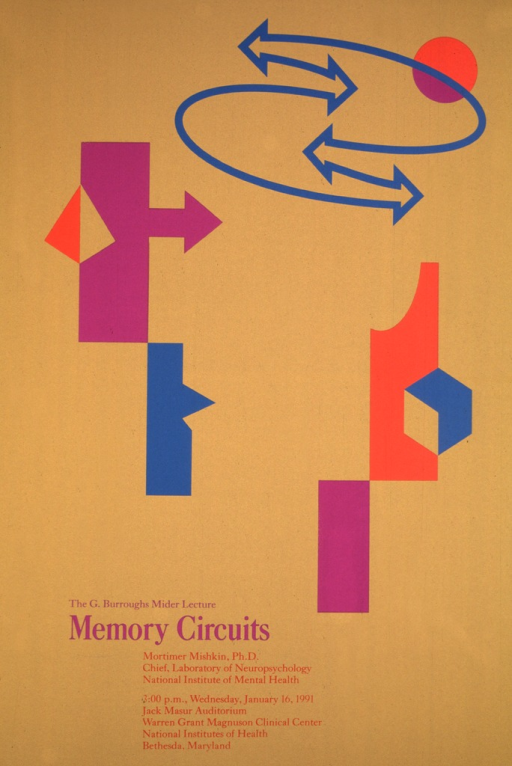 <p>The poster is a mustard color with purple turquoise, and oragne figures (which could be representing circuits) with sets of arrows making a circular path with an orange circle on it.  The date, time, and location of the lecture are given as well as Dr. Mishkin's position as Chief, Laboratory of Neurophysiology, National Institute of Mental Health.</p>