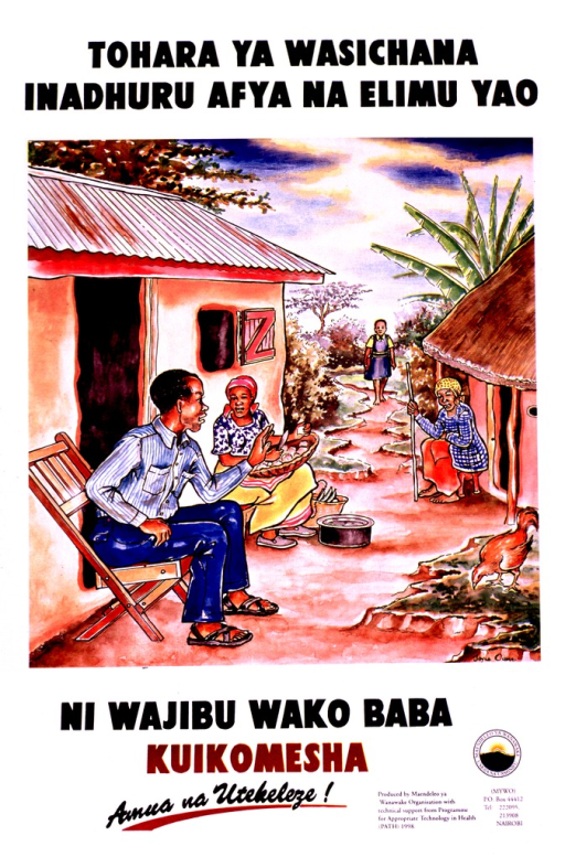 <p>Multicolor poster with black and brown lettering.  Title at top of poster.  Title appears to state that circumcision of girls is harmful to their health and education.  Visual image may be a reproduction of a watercolor painting in which three adult villagers sit outside their homes, working and talking, as a schoolgirl approaches.  The male villager leans forward in his chair and raises his hand in a &quot;stop&quot; gesture.  Caption below painting may mean that it is the father's duty to stop circumcision.  Note below caption addresses the idea of making a decision.  Publisher and sponsor information in lower right corner.</p>