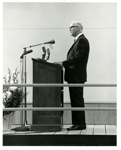 <p>Senator Joseph Lister Hill of Alabama speaks at the podium at NLM Dedication Ceremony in December, 1961.</p>