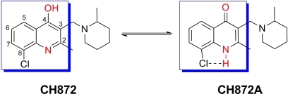 New quinoline with antileishmanial activity.Unlike other quinoline derivatives reported as antileishmanial compounds, CH872 contains a 4-OH group that allows this compound to equilibrate with its tautomer (CH872A). 8-Cl can facilitate the tautomerization by making a H-bond with the NH in CH872A.