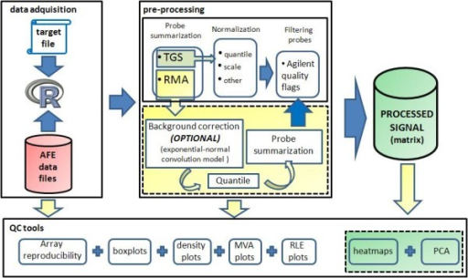 Pre-processing steps. AgiMicroRna includes two distinct pre-processing protocols for transforming the raw probe level data into the processed data that contain the summarized and normalized microRNA gene signals. The first protocol comprises the following steps: 1) acquisition of the TGS processed by AFE, and 2) normalization between arrays by scale or quantile methods. The second option uses the RMA algorithm via the following steps: 1) the raw mean signal can be background corrected (optional, see recommendations in the text); 2) the signal is normalized between arrays by quantile normalization, and 3) the probe level data is summarized into a single microRNA measure. Selected microRNAs can be filtered out according to the Flags assigned to each probe by the Agilent Extraction Software.