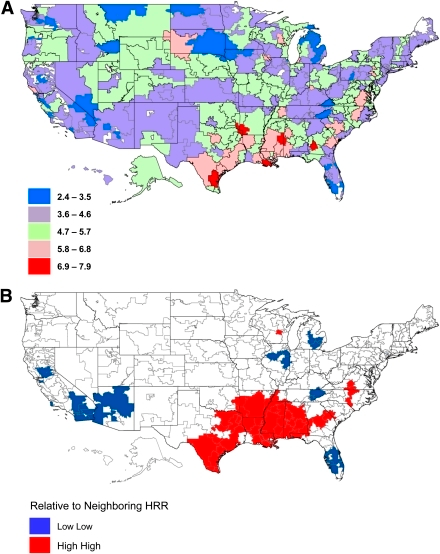 Maps of incidence of LEA among diabetic Medicare beneficiaries by HRR, 2008. A: Map of LEA incidence per 1,000 persons on Medicare with diabetes by HRR in 2008. B: Local index of spatial autocorrelation map of LEA incidence showing spatially correlated HRRs of highest incidence of LEA and lowest incidence of LEA in 2008.