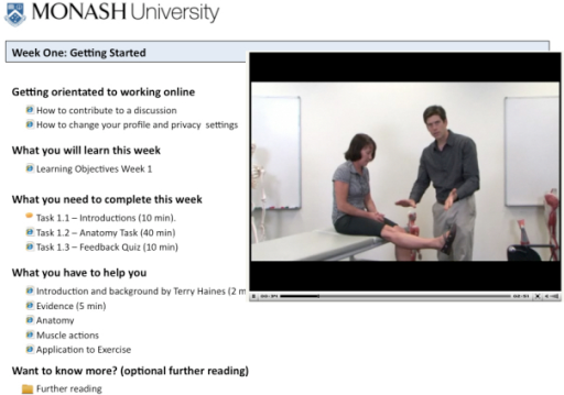 Screenshot of the constructed short-course home page, illustrating the typical integration of learning resources, activities, and supports. The segment of image on the right shows an example of a multimedia resource—in this case, a discussion on measuring quadriceps strength.