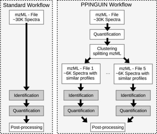 Workflow. Standard workflow of proteomics data evaluation (left hand side) compared to the PPINGUIN workflow presented in our manuscript (right hand side). Starting point for both workflows is the mzML [48] file containing the spectral peak data. In contrast to the standard workflow we employ clustering as a very early step prior to protein inference. This leads to splitting of spectra into different groups. Quantitation and identification is performed independently for each group. The result is a list of identified and quantified proteins ready for downstream analysis.