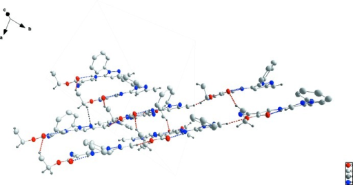 Packing showing the layer structure with intramolecular N—H···O hydrogen bonds shown as blue dotted lines and intermolecular C—H···O and C—H···N interactions as red and black dotted lines, respectively.