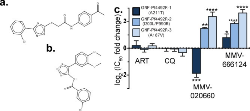 GNF-Pf4492-R lines show cross-resistance to the malariabox inhibitorsMMV666124 and MMV020660. Chemical structure of compounds known tohave blood-stage antimalarial activity (a) MMV666124 and (b) MMV020660.(c) Log2 fold change in IC50 for GNF-Pf4492Rlines compared to the Dd2EF1 parent. Bars represent meanlog2(IC50 fold change) from a minimum of 3 experimentsconducted in duplicate. Error bars = SEM; Significance values weredetermined using one-way ANOVA followed by Dunnett's multiplecomparison post-test to test for a difference in mean log2(IC50) between each strain and the Dd2EF1 parent;*p < 0.05, **p < 0.01.