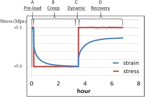A representative stress-strain curve showing the four stage-loading protocol used for the native discs and biphasic constructs.Samples were subjected to: pre-load (A) at 0.6 MPa for 150 sec and then 0.1 MPa for 600 sec; creep (B) at 0.6 MPa for 12,000 sec; dynamic load (C) at sine stresses between 0.3 and 0.9 MPa at 0.1, 0.32, 1, 3.2 and 10 Hz (linear log scale); and recovery (D) at 0.1 MPa for 12,000 sec.
