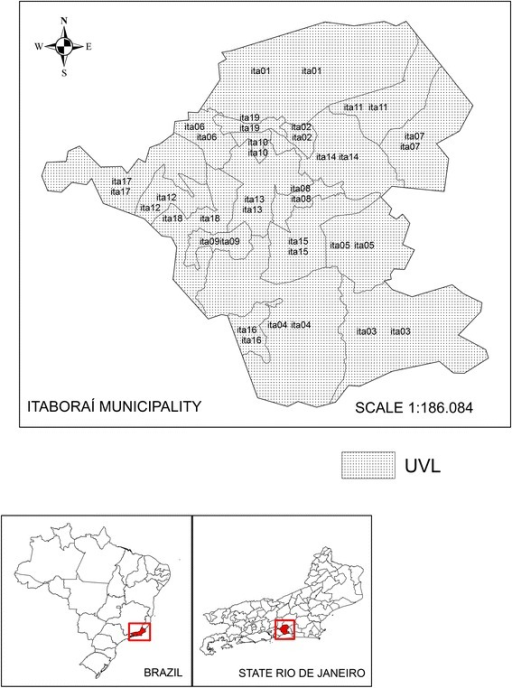 Map of the location of UVLs in the municipality of Itaboraí, State of Rio de Janeiro, Brazil