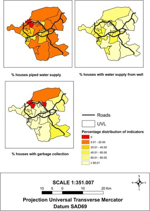 Maps of the sociodemographic indicators related to the property water supply (piped and well) and garbage disposal, which characterize the urban infrastructure, 2010 Demographic Census, Itaboraí municipality, Rio de Janeiro State, Brazil