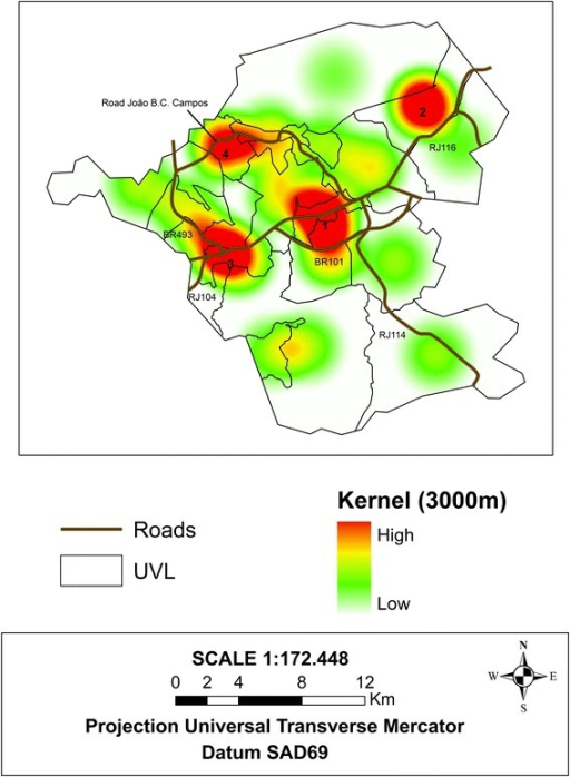 Map of the Kernel estimator of the dengue Bayesian rate (epidemic range of 2008) and the main highways, Itaboraí municipality, Rio de Janeiro State, Brazil