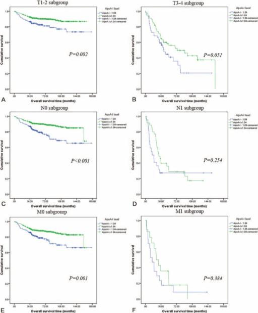 Kaplan–Meier curves depicting OS according to preoperative ApoA-I levels in 786 patients with renal cell cancer. Patients were stratified according to the pT-status, pN-status, and pM-status. (A) Kaplan–Meier analysis of OS in T1-2 subgroup. (B) Kaplan–Meier analysis of OS in T3-4 subgroup. (C) Kaplan–Meier analysis of OS in N0 subgroup. (D) Kaplan–Meier analysis of OS in N1 subgroup. (E) Kaplan–Meier analysis of OS inM0 subgroup. (F) Kaplan–Meier analysis of OS in M1 subgroup. ApoA-I = apolipoprotein A-I, OS = overall survival.