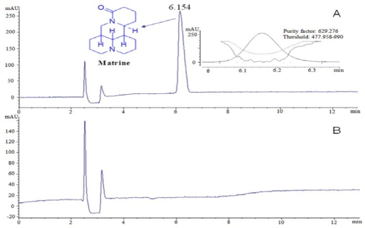 The HPLC profile of matrine. (A) sample; (B) solvent.