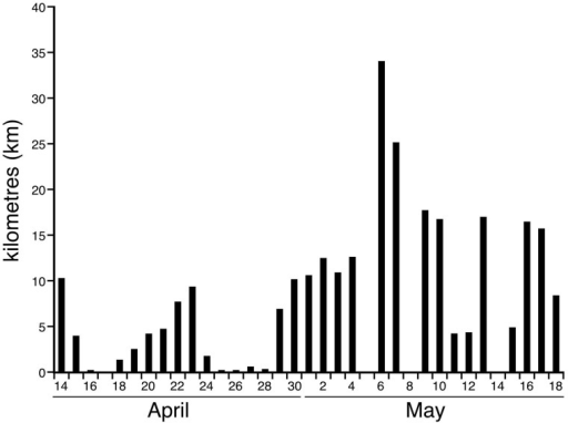 Distance between sleeping herds.                        Bar graph showing the distance (kilometres, km) between                            sites of the major sleep episode of Matriarch 1 and Matriarch 2 on each                            day of the recording period when sleep occurred. The average distance                            between the sites of the major sleep episode for the two elephants on                            the same day was 9.3 km (s.d. = 8.1 km, range = 0.15–34.05 km).                            The closest the two matriarchs (and their respective herds) came to                            sleeping in the same location was 150 m, but on other days they could be                            over 34 km apart.