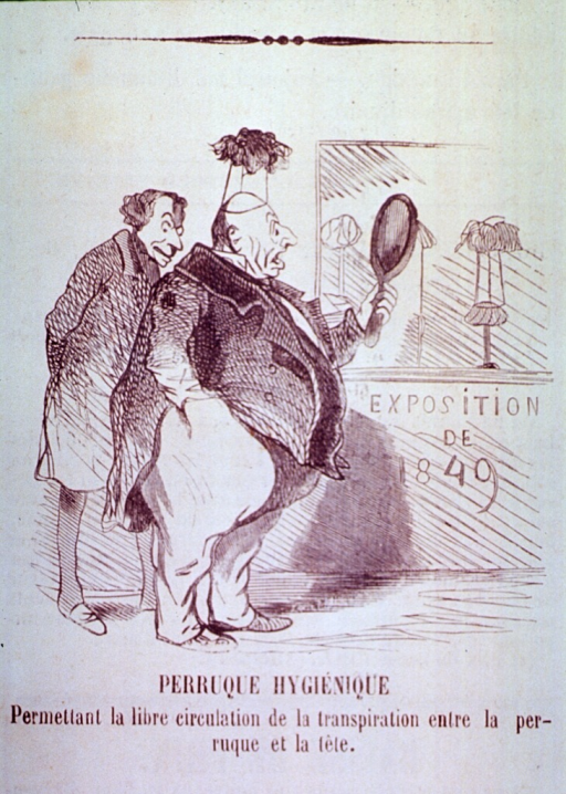 <p>A man is trying on a wig which sits on a raised stand on his head to permit free circulation and transpiration; the man is startled when he looks in a mirror.</p>