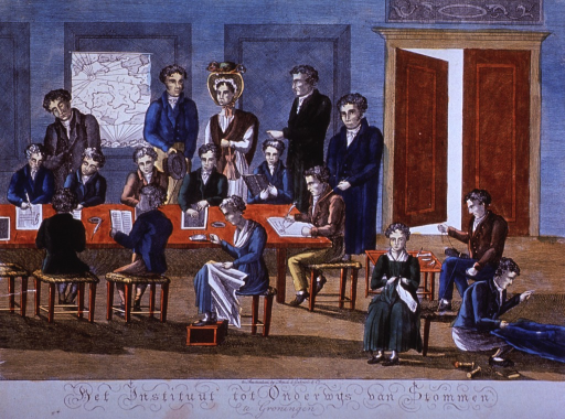 <p>Interior view; deaf and dumb children are being taught reading, writing, drawing, sewing, knitting, and leathercraft; they are taught and observed by five adults.</p>