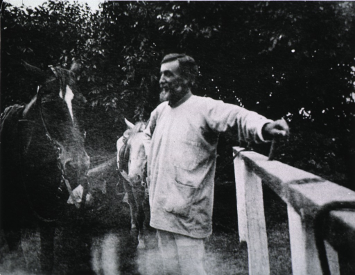<p>Outdoors, showing Dutton with two horses.</p>