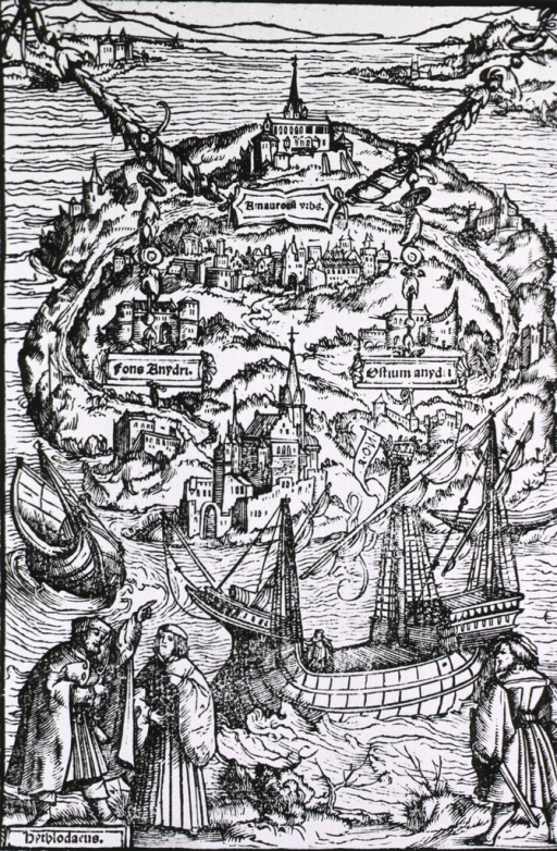 <p>Woodcut aerial view of a utopia, from Sir Thomas More's De optimo reip. statu...Basel, 1518.</p>
