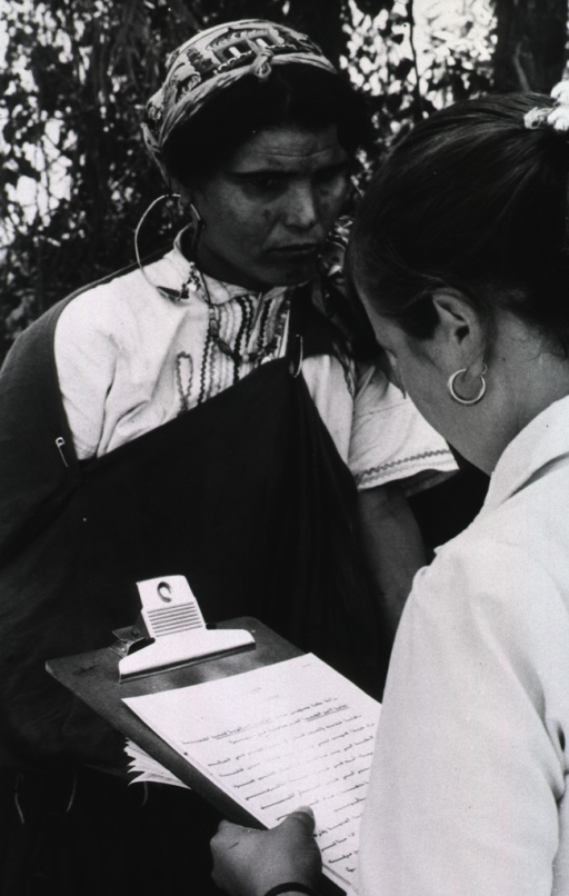 <p>A young woman holding a clipboard with a questionnaire in the local Arabic dialect is interviewing a woman who appears to have her right arm in a sling.</p>