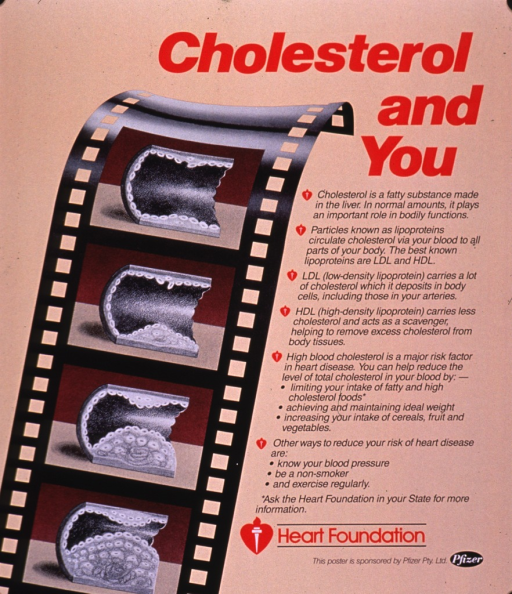 <p>Predominantly tan poster with red and black lettering.  Title in upper right corner.  Visual image is an illustration of a strip of film showing four frames in which a blood vessel progresses from open to clogged.  Lengthy caption to right of illustration describes cholesterol, its role in heart disease, and steps for reducing one's cholesterol level.  Publisher and sponsor information in lower right corner.</p>