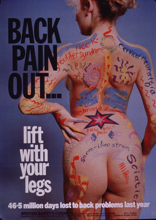 <p>Predominantly blue poster with purple and white lettering.  Title on left side of poster.  Visual image is a color photo reproduction featuring a woman standing with her back to the viewer.  Her back, arms, and buttocks are labeled with different types of pain (e.g., cervical neuralgia, low back pain) and drawings of stars and lines suggesting radiating pain accompany the labels.  Caption and publisher information at bottom of poster.</p>