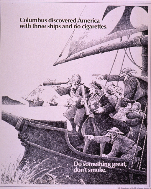 <p>Black and white poster.  Title at top of poster.  Visual image is a cartoon-style illustration of three ships approaching land.  The ship in the foreground shows many men pointing and rejoicing, while a man stands in their midst, smiling and holding a globe.  Note superimposed on illustration.  Publisher information in lower right corner.</p>