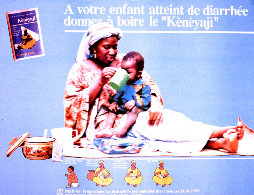 <p>Predominantly light blue poster with white lettering.  Title at top of poster.  Dominant visual image is a reproduction of a color photo showing a mother holding her baby on her lap and giving the baby something to drink.  Smaller images include a packet of the rehydration solution in the upper right corner and illustrations of a woman mixing the solution below the dominant image.  Publisher information at bottom of poster.</p>