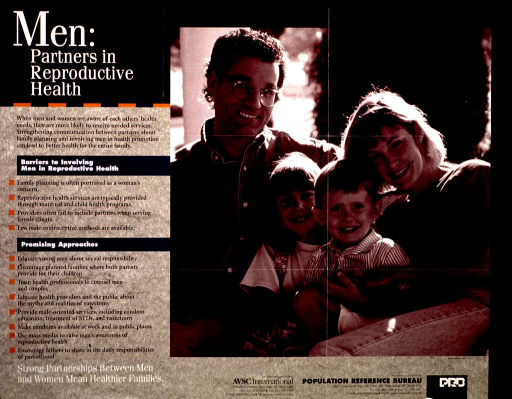 <p>Green and black poster with white and black lettering.  Title in upper left corner.  Left side of poster features text describing barriers to men participating in family planning and some promising approaches to engaging men.  Note at bottom of left side.  Right side of poster features a b&amp;w photo reproduction showing a four-member family of European descent.  Distributor (AVSC International) and publisher information in lower right corner.</p>