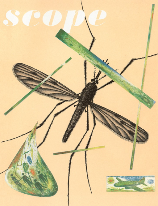 <p>Magazine cover of Scope designed by graphic designer Lester Beall. An illustration of a mosquito in the center along with other illustrations.</p>