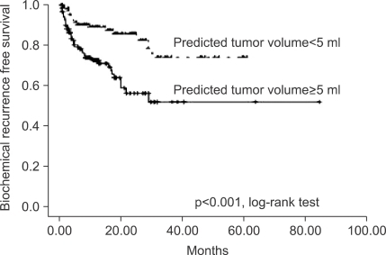 Biochemical recurrence-free survivals of patients according to median predicted tumor volume (p<0.001; log-rank test).
