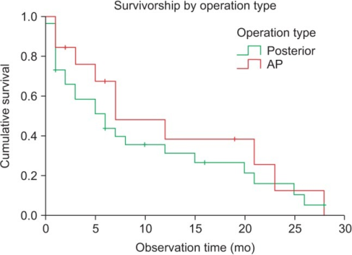 Kaplan-Meier analysis revealed cumulative survival rates to be 31.5% for patients who underwent posterior surgery and 38.7% for those who underwent anteroposterior (AP) surgery at 12 months postoperatively. There was no statistically significant difference (p > 0.05, log-rank test).