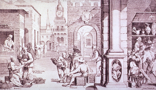 <p>Street scene in Bologna: Small gatherings of different artisans/merchants (greengrocer, banker, goldsmith/jeweller, baker...) each identified on the print. To the right is a dental scene.</p>