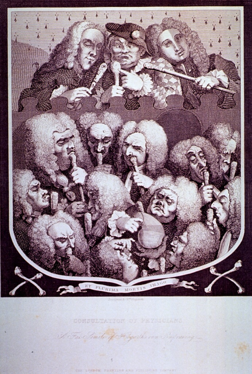 <p>Caricature of twelve physicians consulting on the contents of a urinal.  Pictured above the group are l. to r., Dr. &quot;Spot&quot; Ward, Mrs. Mapp (known as &quot;Crazy Sally&quot;), and Chevalier Taylor, a well-known quack.</p>