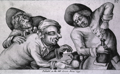 <p>Three men, perhaps in a tavern, are preparing to drink of all the pleasures and contentment that life has to offer; two of the men are waiting for the third man to open a bottle of ale.</p>