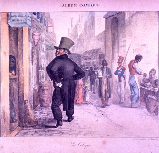 <p>A street scene: A man is looking up at a sign that reads: fosses mobiles inodores.  In front of the man is a barrel of grapes.</p>