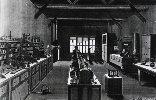 <p>The laboratory of the California College of Pharmacy, showing many different kinds of instrumentation.</p>
