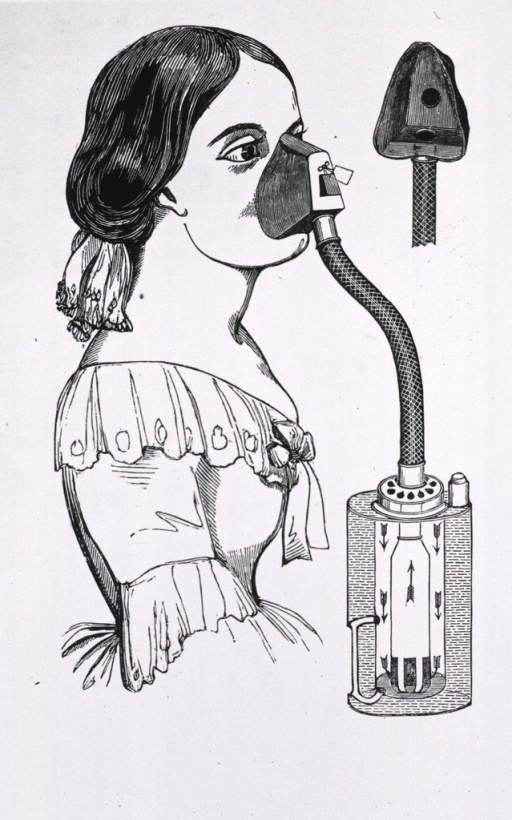 <p>A young woman in Victorian dress with the Snow chloroform inhaler attached to her face.</p>