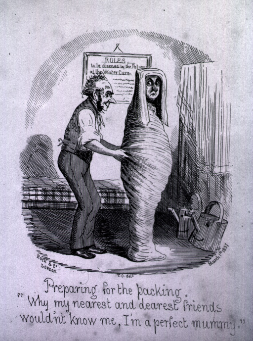 <p>A man is wrapping a person in a wet sheet.  The person is completely confined.  There are two smiling water cans on the floor.  In the background is a framed sign: Rules to be observed by the patient at the Water Cure.</p>
