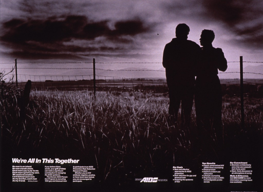 <p>Black and white poster with white lettering.  Visual image is a b&amp;w photo reproduction featuring two men standing together by a barbed wire fence.  They stand with their backs to the viewer, amid a grassy field.  Title, note, additional text, and publisher information all at bottom of poster.  Additional text recruits gay and bisexual men for a risk reduction research project.</p>