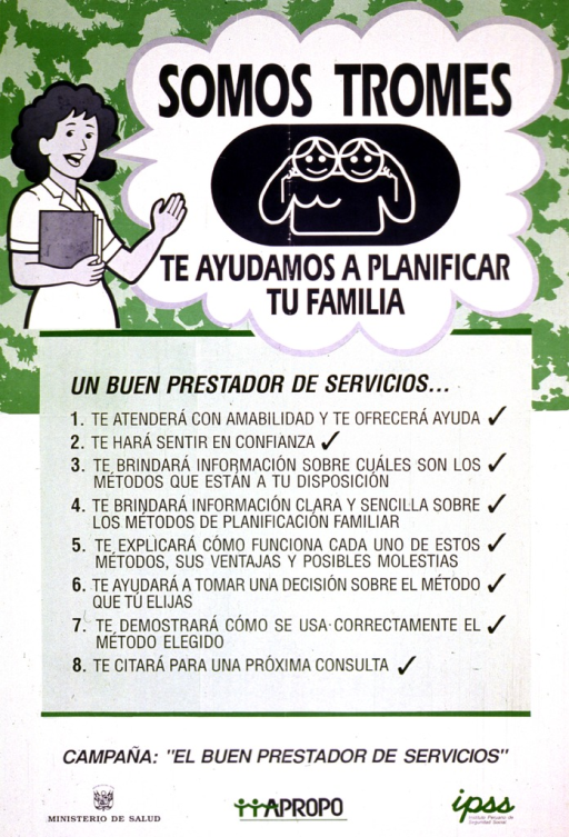<p>Green and white poster with blue lettering.  Top of poster features an illustration of a health worker, who appears to speak the title text, and a logo showing a man and woman.  Poster dominated by a list of eight features of a good service provider.  Note below list.  Publisher and sponsor information at bottom of poster.</p>