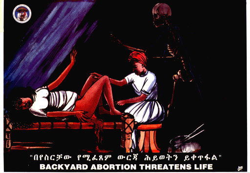 <p>Multicolor poster with white and black lettering.  Publisher information in upper left corner.  Visual image is an illustration depicting a woman receiving an abortion.  She lies on a bed with her knees bent; blood flows from between her legs as a woman seated at the end of the bed induces the abortion with a metal rod.  A skeleton hovers behind the woman performing the abortion.  Title in Amharic and English at bottom of poster.</p>