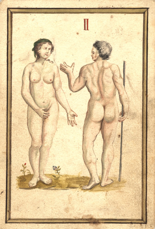 <p>Human male and female, both nude, standing in a landscape. The woman faces the viewer and looks at the man, who stands with his back to the viewer and holds a staff in his right hand while he looks at the woman.</p>