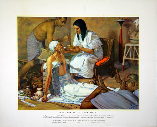 <p>An Egyptian physician (1500 B.C.) treats a patient for lockjaw in accordance with directions on a papyrus scroll, while priests perform prescribed rites. Egyptian medicine occupied a dominant position in the ancient world for 2500 years.</p>