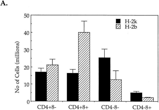 Injection of PCC induce negative selection and activation of CPP32 in thymocytes of PCC-specific TcR transgenic mice of the H-2k, but  not H-2b, haplotype. (A) Absolute number of cells in the different cell populations of thymuses isolated from H-2k and H-2b TcR transgenic mice 24 h  after PCC injection. (B, top) Percentages of expression of CD4 and CD8 molecules by viable thymocytes (annexin V−) isolated from PCC-injected  H-2k and H-2b TcR transgenic mice after 18 h of culture at 37°C. Thymuses from noninjected H-2k TcR transgenic mice contain 34.3 ± 2.5% of  CD4+8− cells, 48.4 ± 5.7% of CD4+8+ cells and 15.0 ± 5.6% of CD4−8− cells. Thymuses from noninjected H-2b TcR transgenic mice contain 37.0 ±  1.8% of CD4+8− cells, 46.0 ± 4.1% of CD4+8+ cells and 14.8 ± 3.9% of CD4−8− cells. (B, bottom) Percentages of annexin V+ cells in CD4+8−,  CD4+8+ and CD4−8− thymocytes isolated from PCC-injected H-2k and H-2b TcR transgenic mice after 18 h of culture at 37°C. (C) Proteolytic cleavage of CPP32 and PARP in thymocytes isolated from PCC-injected H-2k and H-2b TcR transgenic mice. After 6 or 18 h of culture at 37°C, cells were  lysed and the lysates were electrophoresed. The substrate cleavage was visualized by immunoblotting as described in Materials and Methods.